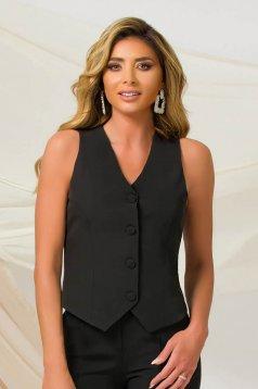 Vesta PrettyGirl negru office cu un croi cambrat din material usor elastic cu decolteu in v