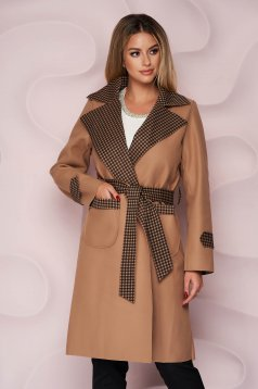 Cappuccino trenchcoat long straight thick fabric slightly elastic fabric detachable cord with chequers