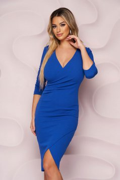 Rochie StarShinerS albastra office midi tip creion din material elastic cu decolteu in v