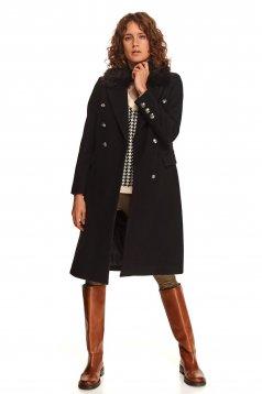 Palton Top Secret negru lunga cu un croi cambrat din material gros cu guler din blana
