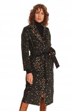 Palton Top Secret negru lunga cu un croi drept din material gros si fin la atingere cu cordon detasabil