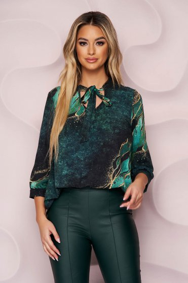 StarShinerS women`s blouse asymmetrical office loose fit slightly elastic fabric with floral print
