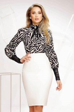 Women`s blouse office light material ruffled collar with straight cut nonelastic fabric with laced sleeves