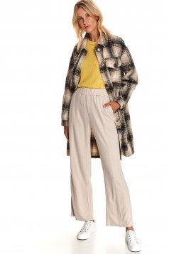 Pantaloni Top Secret maro cu croi larg cu talie inalta din material elastic cu buzunare laterale