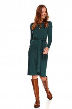Rochie Top Secret verde midi cu un croi drept si cordon detasabil din material tricotat reiat si elastic