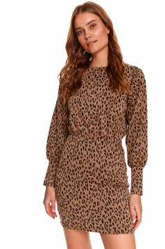 Rochie Top Secret animal print scurta tip creion din material tricotat si elastic cu maneci bufante