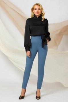 Pantaloni PrettyGirl albastri conici cu talie inalta office din material usor elastic care se leaga cu o funda satinata