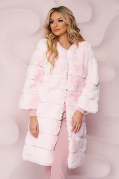 Blana SunShine roz deschis de ocazie cu un croi drept din blana ecologica cu buzunare laterale