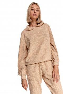 Bluza dama Top Secret crem sport cu croi larg si maneca lunga din material elastic cu gluga