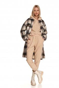 Pantaloni Top Secret crem sport cu croi larg si talie inalta din material gros tip blana ecologica